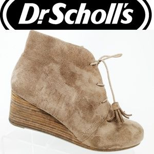 Dr Scholls Taupe Brown Wedge Heel Ankle Booties 10